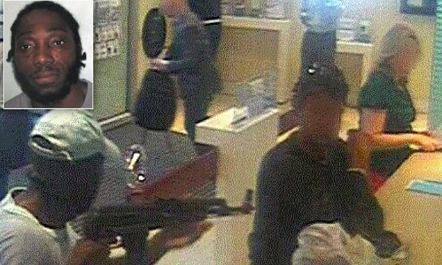 An assault-rifle wielding robber's attempts to rob a bank were foiled by eight good Samaritans, and has now been jailed for 9 and a half years