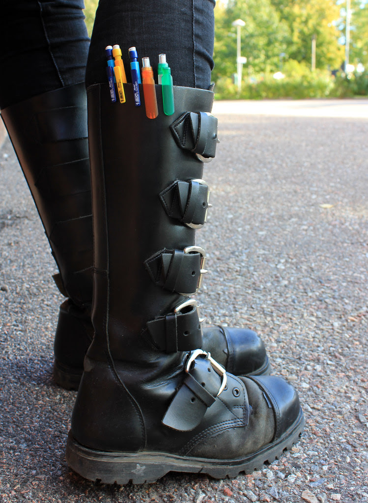 Leather Boots & Pens