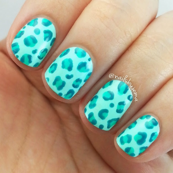 Teal Leopard Nails 2