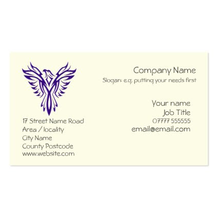 Generic Phoenix Rising from Ashes - Purple Double-Sided Standard Business Cards (Pack Of 100)