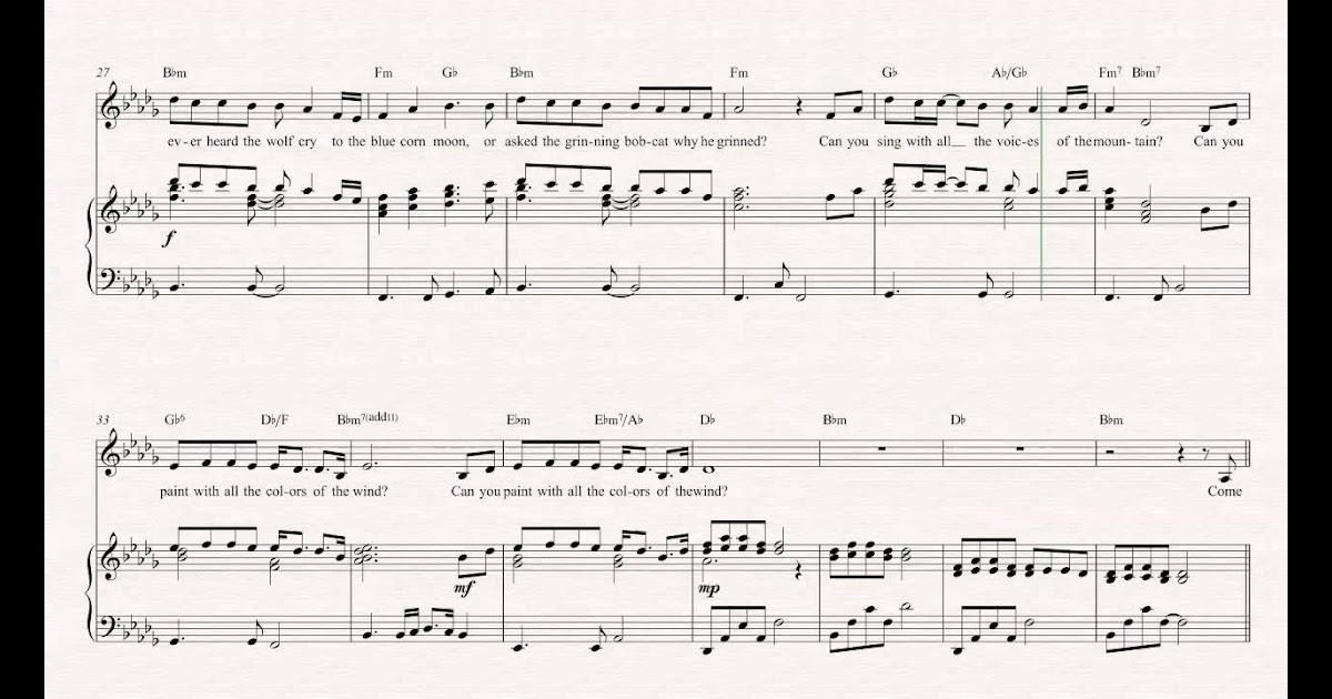 Colors Of The Wind Free Printable Piano Sheet Music  Coloring Pages