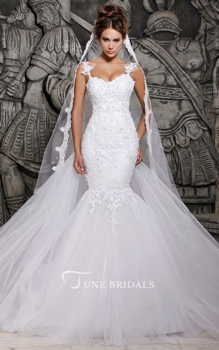 Magnificent Tulle Mermaid Lace Wedding Dress with Wedding