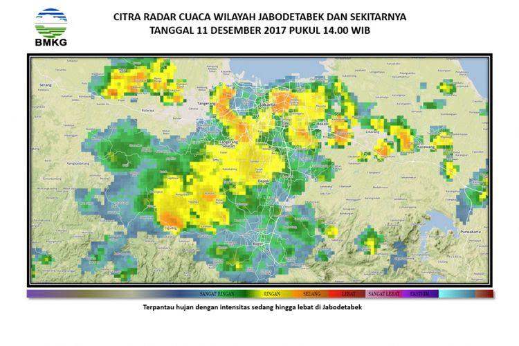 Peta pantauan cuaca Jabodetabek