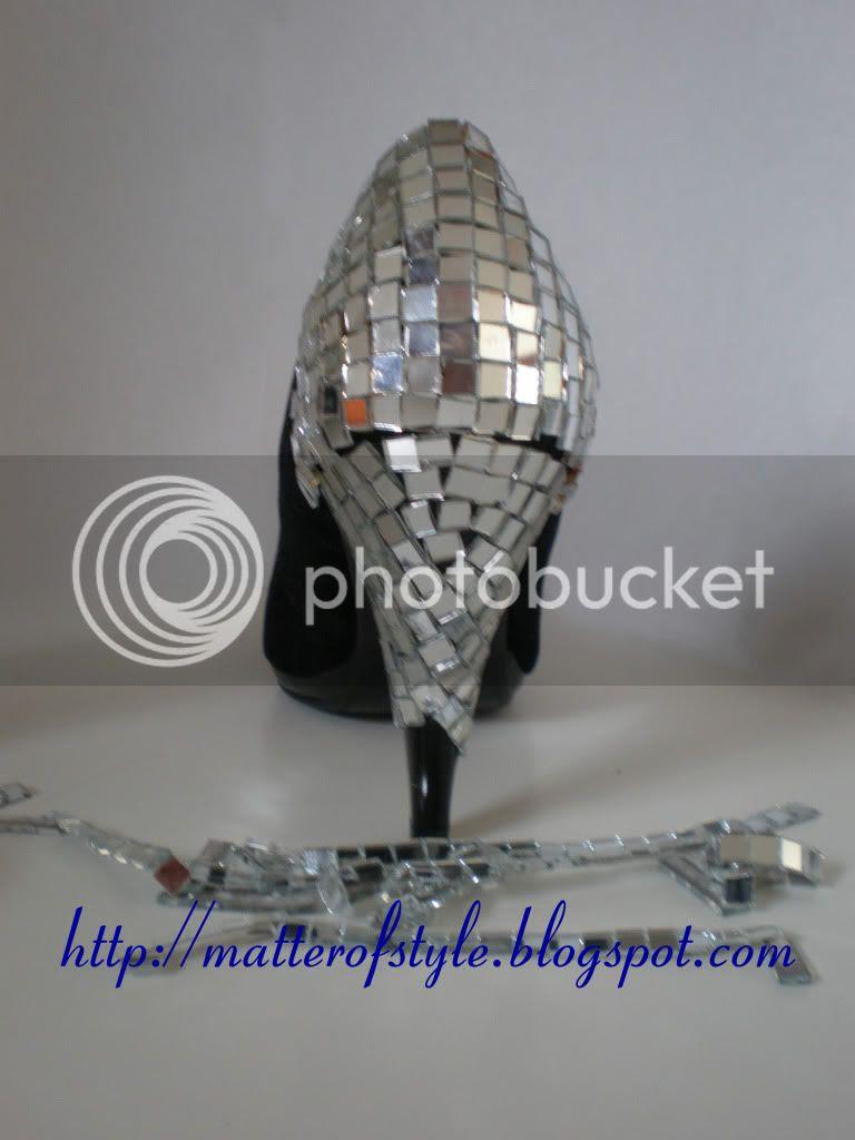 mirror shoes,diy shoes,shoes diy,disco shoes,diy,fashion diy, Discoball Heels