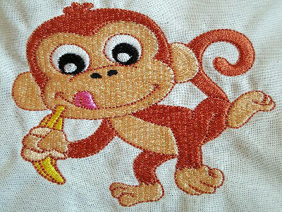 Happy Monkey Machine Embroidery Design