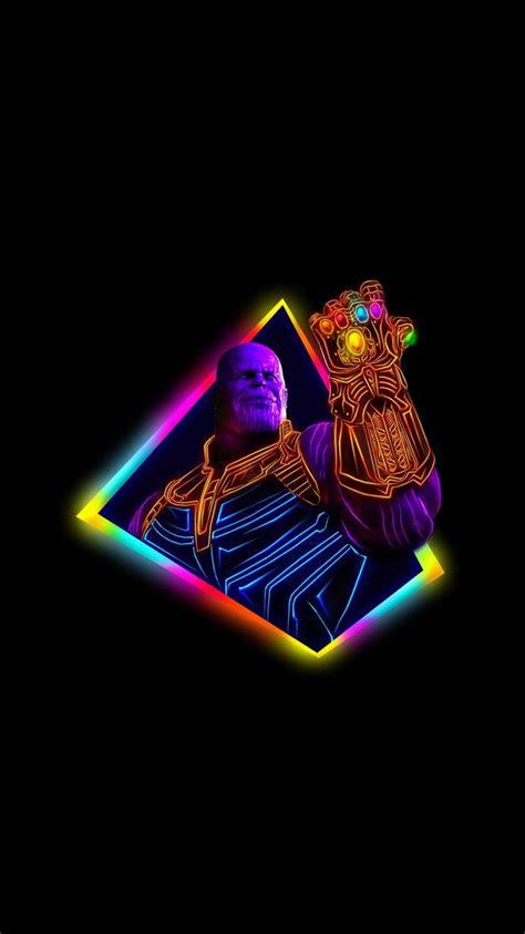 thanos avengers infinity war neon art wallpapers hd