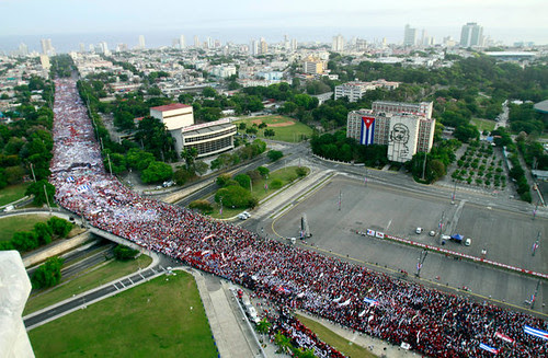 Cuban May Day demonstration in Havana. Hundreds of thousands attended to express solidarity with the workers struggle internationally. by Pan-African News Wire File Photos