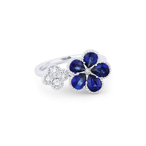 Gemstone and Diamond Flower Ring   Desires by Mikolay