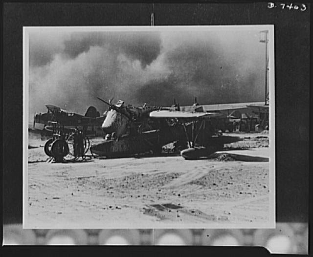 One of the 80 U.S. Navy planes wrecked by Japanese bombs and bullets during the air attacks on Pearl Harbor. The plane was an OS2U, an Observation Scout built by Vought-Sikorsky. (Photo: Library of Congress Prints and Photographs)