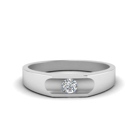 Classic Dome Diamond Comfort Fit Wedding Ring For Men In