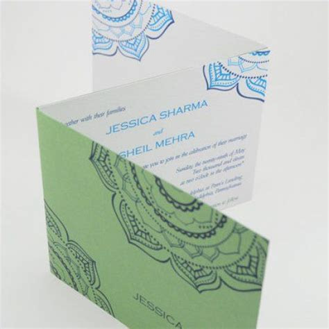 Blue and Green Indian Wedding Invitation Tri Fold Card