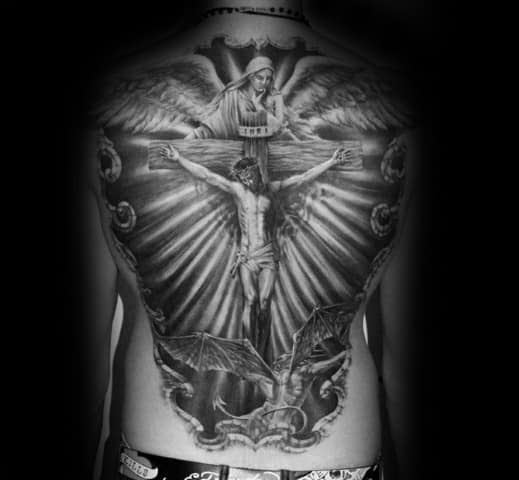 Jesus On The Cross Guys Shaded 3d Back Tattoo Designs