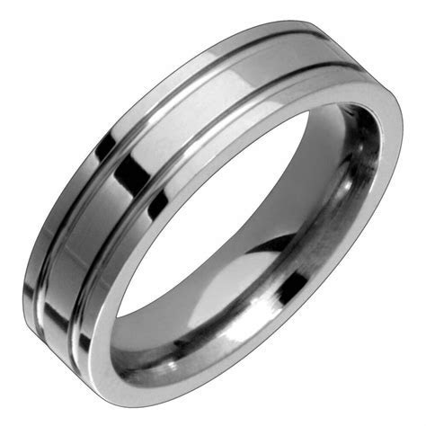 Titanium Engagement Durable Double Groove Ring 5mm Wide