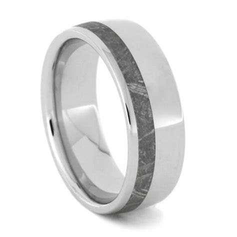 Meteorite Ring Set With White Gold And Titanium Wedding
