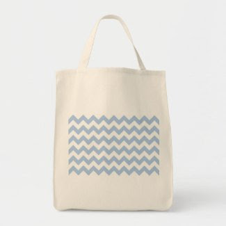 Light Blue and White Zigzag Canvas Bags