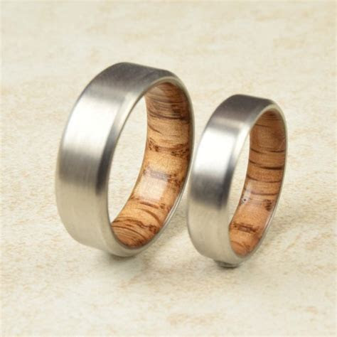 Titanium & Red Oak Lined Ring // Engagement Ring // Exotic