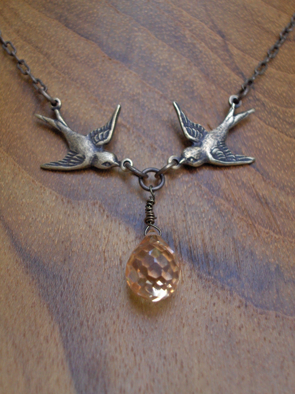 Champagne Kissing Sparrow Love Birds Briolette Pendant Necklace with Champagne Cubic Zirconia