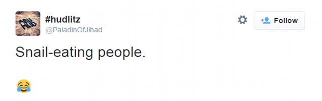 The fighter's first tweet (pictured), posted a day before the attack, cryptically referred to 'snail-eating people'