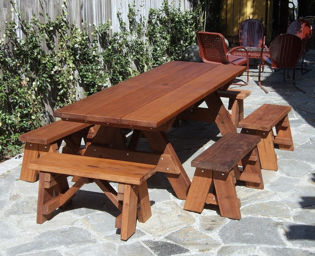 mike tell a 8 ft picnic table detached benches plans