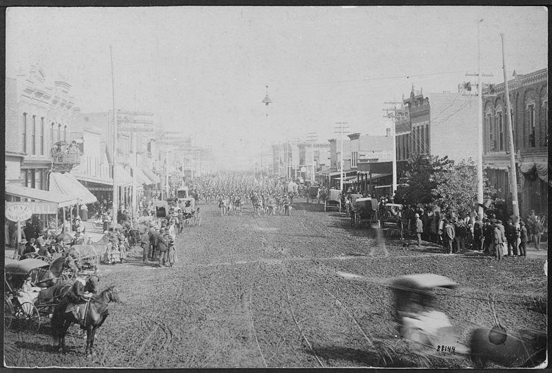 "File:""Parade of U.S. Infantry through Kearney, Nebraska, 1888."" - NARA - 533173.jpg"