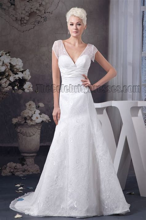 A Line V Neck Cap Sleeve Chapel Train Wedding Dress