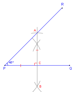 How to construct (draw) a 45 degree angle with compass and ...