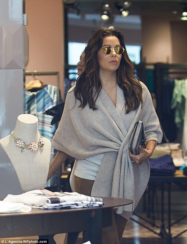 Picking up some treats: The actress sashayed through Madrid's designer boutiques