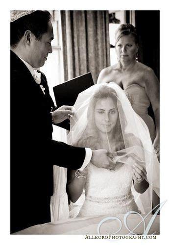 Bedecken, AKA the Jewish veiling ceremony. The groom pulls