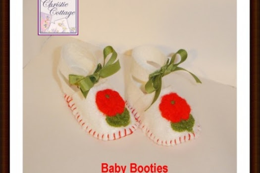 Baby Shoes, Booties, Baby Girl White Felt, Vintage Appliques