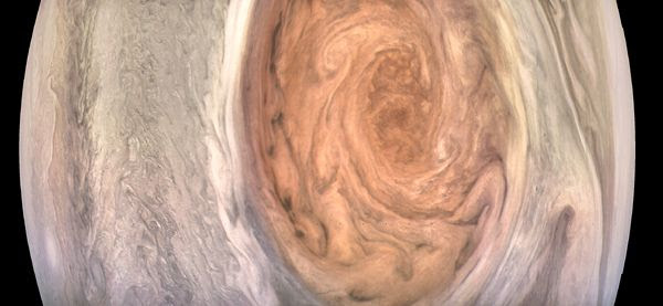An enhanced color image of Jupiter's Great Red Spot that was taken by NASA's Juno spacecraft on July 10, 2017.