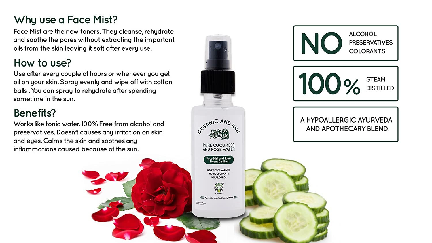 cucumber and rose water face mist