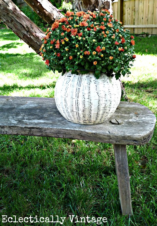 DIY $1 Plastic Pumpkin Music Sheet Planters - perfect fall decorations