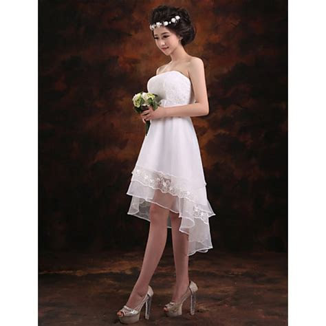 Elegant Strapless High Low Chiffon Bridesmaid Dresses Lace