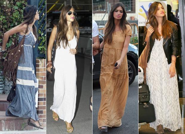 Sara também é fã de vestidos longos, que são estilosos e ao mesmo tempo confortáveis. Ela combina as peças com sandálias rasteiras ou plataformas
