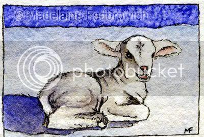 Christmas Lamb ACEO