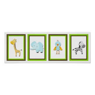 5X7 Jungle Animal Wall Art Collection Posters