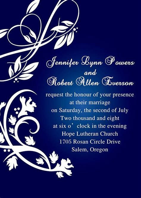 royal blue pocket wedding invitations with free rsvp cards