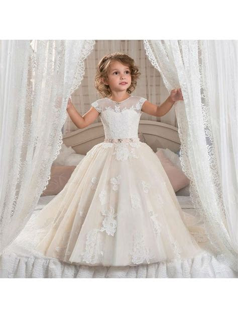 Cap Sleeves Lace Appliques Princess Ball Gown Flower Girl