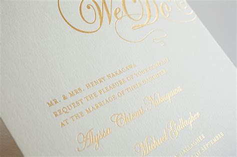 Foil stamped wedding invitations are a stunning addition