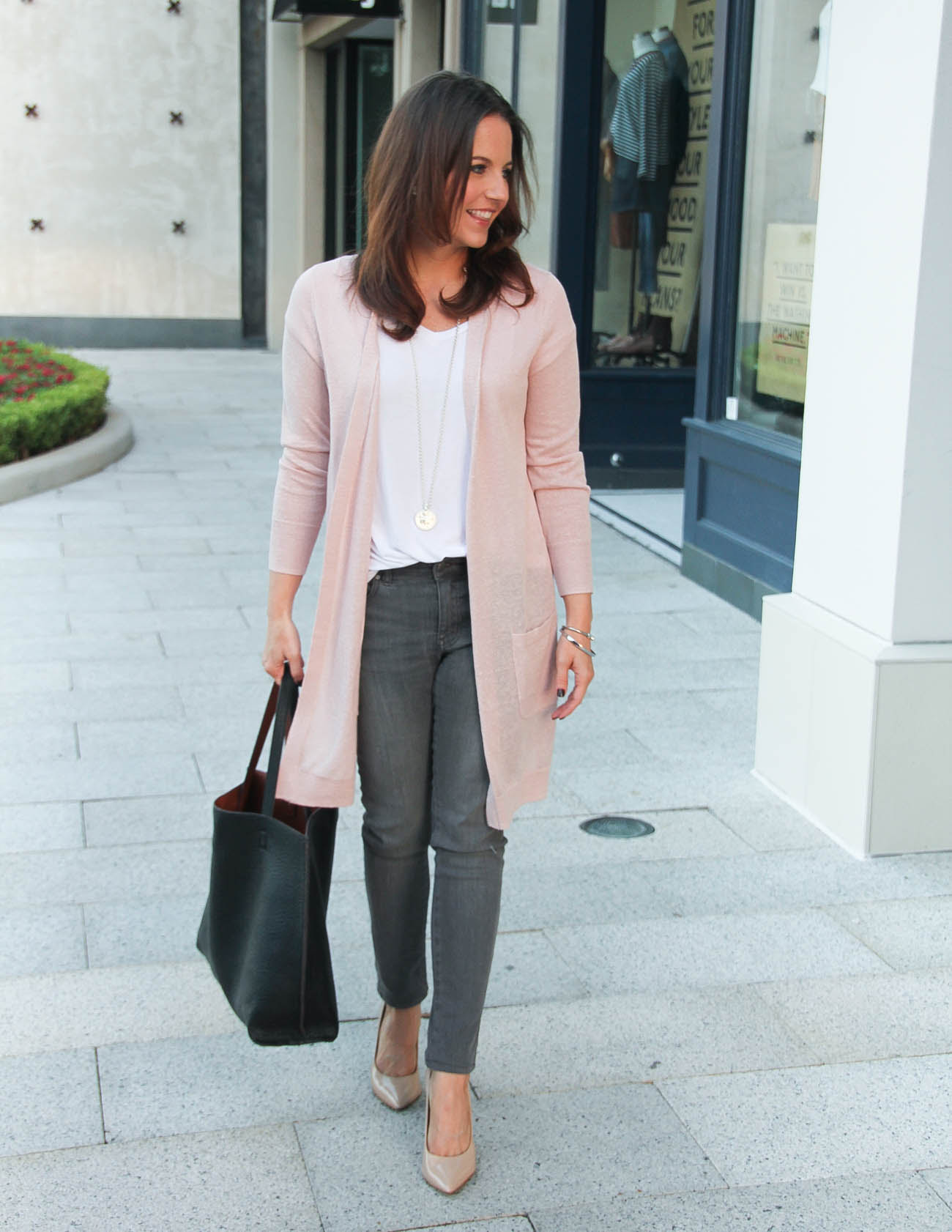 blush pink cardigan  gray jeans under 100  lady in
