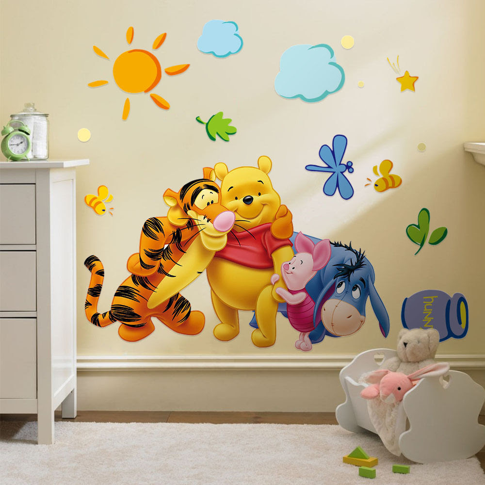 Winnie The Pooh Vinyl Mural Wall Sticker Decal Removable Kids Nursery Room Decor  eBay