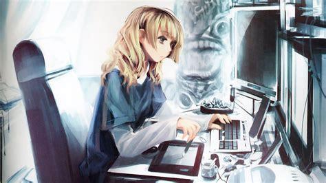anime girl  computer otakus room anime style en