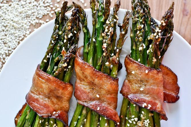 Bacon Wrapped Caramelized Sesame Asparagus I howsweeteats.com
