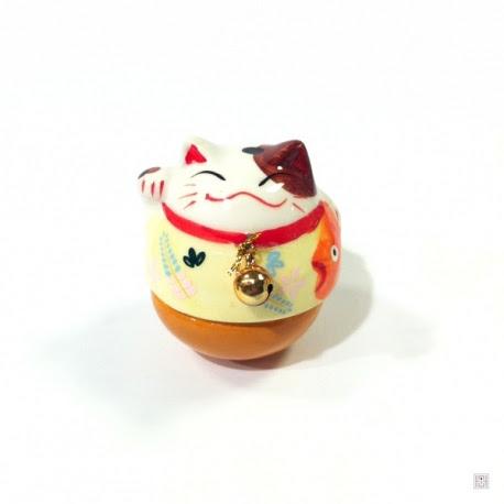 Culbuto Maneki Neko grelot en porcelaine h6.5cm PM