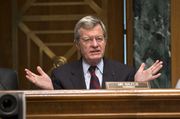 <p> Senate Finance Committee Chairman Sen. Max Baucus, D-Mont. questions Health and Human Services Secretary Kathleen Sebelius as she testifies on Capitol Hill in Washington, Wednesday, April 17, 2013, before the committee's hearing on President Barack Obama's budget proposal for fiscal year 2014. (AP Photo/J. Scott Applewhite)