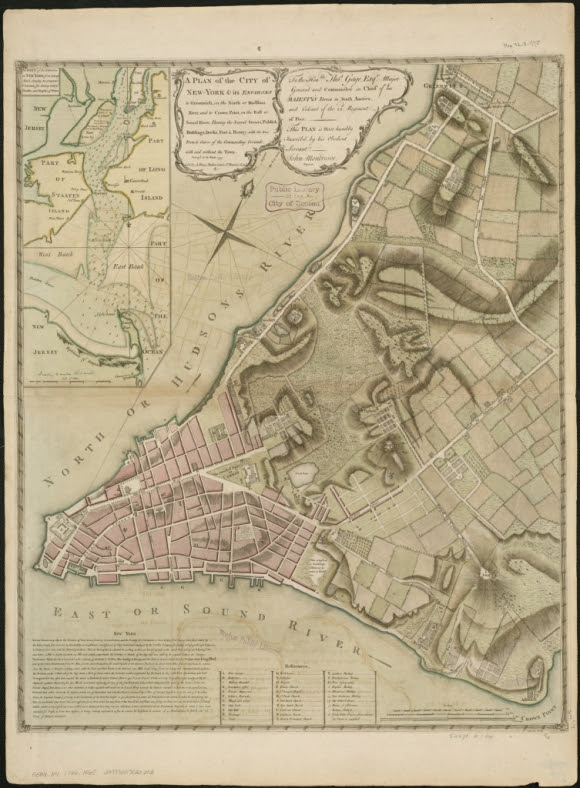 A plan of the city of New-York & its environs to Greenwich, on the North or Hudsons River, and to Crown Point, on the East or Sound River, shewing the several streets, publick buildings, docks, fort & battery, with the true form & course ..., 1775 by John Montrésor