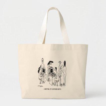 Computer Cartoon 4130 Large Tote Bag