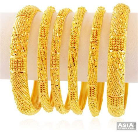 22K Indian Gold Bangles (set of 6)   AsBa59349   22K Gold