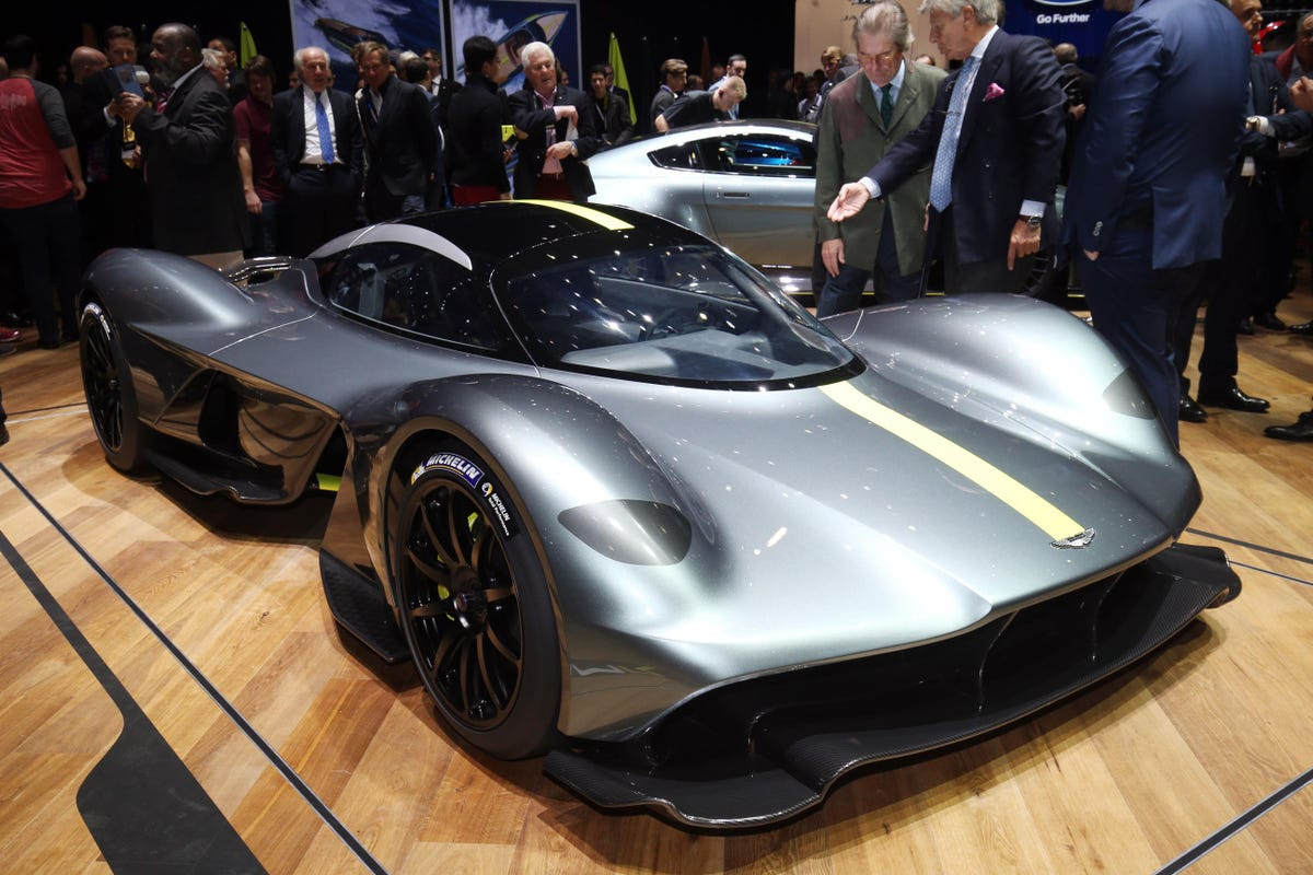 Aston Martin displayed its newly-named Valkyrie hypercar, which was developed in conjunction with Red Bull Racing.
