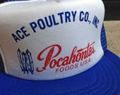 Vintage Baseball Cap - Ace Poultry, Pocahontas Foods - red white and blue - excellent condition